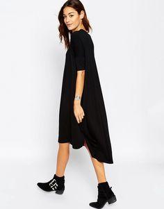 Image 2 ofASOS Oversize T-Shirt Dress with Curved Hem