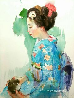 Oriental, Watercolor Paintings, Watercolours, Portraits, Asian, Japanese, Artists, Inspiration, Image