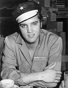 'Wart and all'  Elvis Presley   wearing motorcycle hat in June of 1956.