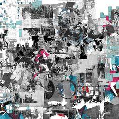 Worlds collide / geometric art/ abstract art /contemporary art/ modern art/ urban art / street art / digital collage / original art /