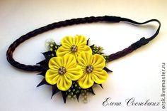 """повязка для причёски в греческом стиле """"Жёлтый цвет"""" - жёлтый,жёлтый цветок"""