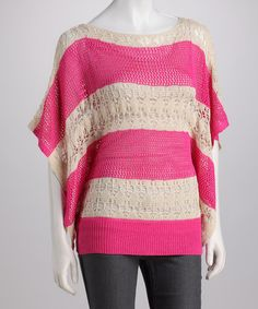 Take a look at this Fuchsia Stripe Crocheted Cape-Sleeve Top by High Secret on #zulily today!