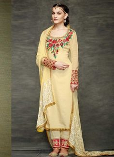 Artistic Cream Georgette With Patch Border Work Pakistani  Suit http://www.angelnx.com/Salwar-Kameez/Pakistani-Suits