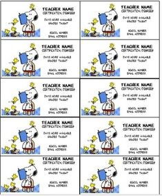 Free editable business cards for substitute teachers from snoopy ii teacher business cards editable reheart Choice Image