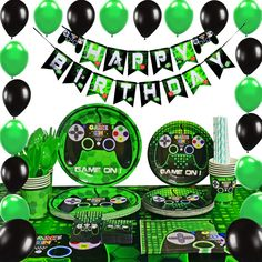 Let's Party – Gaming – Building Our Happily Ever After Video Game Party Supplies – Gaming Party Decoration Boys Birthday Party Favors Cutlery Bag Table Cover Plates Cups Napkins Straws Utensils Birthday Banner & Balloons Serves 16 Guests 169 PCS Birthday Games, Boy Birthday Parties, Birthday Party Favors, Birthday Bash, Happy Birthday, Xbox Party, Game Truck Party, Balloon Party Games, Deco Gamer
