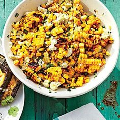 Grilled Mexican Corn Salad - Grilling: Not Just for Meat - Southernliving. Recipe: Grilled Mexican Corn Salad This recipe is an off-the-cob play on a popular Mexican street dish. Fresh Corn Recipes, Corn Salad Recipes, Corn Salads, Veggie Recipes, Mexican Food Recipes, Summer Recipes, Mexican Cooking, Veggie Dishes, Easy Salads