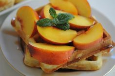 pancetta waffles with peaches #summer #brunch #recipes