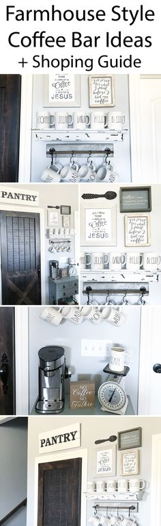 coffee bar for a farmhouse style kitchen