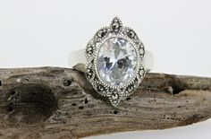 Sterling Silver Ring Shield Ring Antique Inspired Ring Gemstone Ring Cubic Zircon Ring Alternative Engagement Ring Marcasite Ring Size 7 by FergusonsFineJewelry