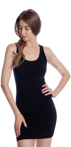Basic Jersey Sleeveless Knit Bodycon Racerback Stretch Mini Tank Top Dress