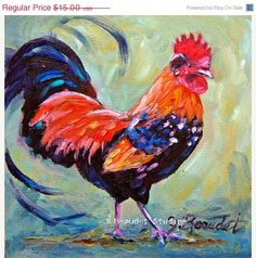 Rooster Print of Original oil painting Rooster by JBeaudetStudios, $13.50
