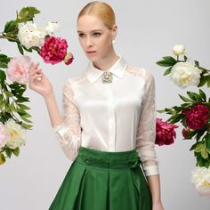 Lace and satin blouse