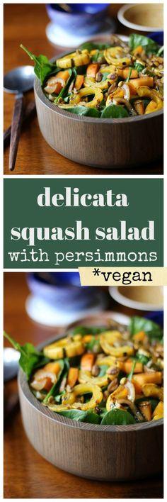 Autumnal delicata squash salad with caramelized onions and persimmons. #Vegan #Glutenfree via @cadryskitchen