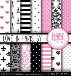 Amor en París Fondos Digitales by Lagartixa por LagartixaShop, $50.00 #paris #iloveparis #damask #toureffeil #lace #scrapbooking #digitalpaper