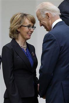 Joe Biden looking at Gabby Giffords. - Joe Biden Looking At Stuff