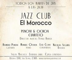 """El Club de Jazz """"El Morocco"""" tiene el inmenso agrado de presentar al cuarteto """"Penovi & Ochoa"""" bajo la dirección de Yamile Burich.  Salón Macoco. Entrada libre y gratuita. Cupos limitados. http://pulperiaquilapan.com/event/jazz-club-el-morocco-presenta-penovi-ochoa-cuarteto/"""