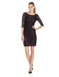 Adrianna Papell Women's Elbow-Sleeve Side-Shirred Lace Dress ** More info could be found at the image url. (This is an affiliate link)