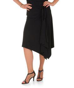 Look at this #zulilyfind! Black Asymmetrical Skirt #zulilyfinds