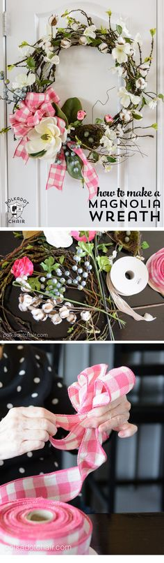 Make a Spring Wreath for your front door with this DIY Magnolia Wreath Tutorial. #wreathDIY #springwreath #MagnoliaWreath #MagnoliaHomeDIY  via @polkadotchair