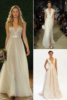 9 Watters Caroline Herrera Lela Rose Tief V Ausschnitt Brautkleider 2015 Hochzeit 2015: Brautkleider Trends vorhersagen