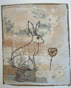 Image de textile non encadrés de lièvre par MandyPattullo sur Etsy, £40.00