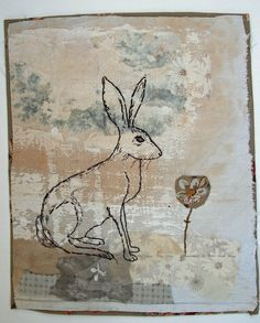 Unframed textile picture of hare by MandyPattullo on Etsy, £40.00