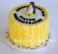 System Administrator Appreciation Day Cake Tux the Linux penguin Blueberry Lemon cake with Lemon buttercream