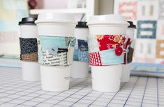 DIY: patchwork coffee koozie