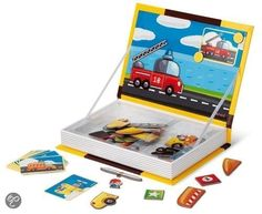 Kies een auto, leg het op het magnetische boek en bouw de auto volgens de afbeelding met de verschillende onderdelen. Ideaal voor de creatieve geest en manuele ontwikkeling van kinderen. Afmeting: 26 x 29 x 4 cm.