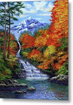David Lloyd Glover Deep Falls in Autumn oil painting for sale; Select your favorite David Lloyd Glover Deep Falls in Autumn painting on canvas or frame at discount price. Waterfall Paintings, Scenery Paintings, Nature Paintings, Watercolor Landscape, Landscape Art, Landscape Photography, Landscape Timbers, Landscape Lighting, Bob Ross Paintings
