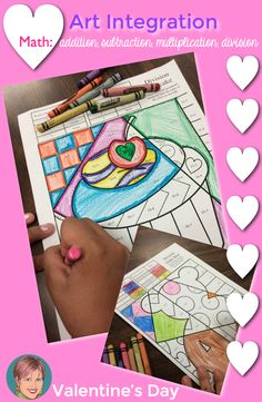 Integrate art and math to engage and excite your students at Valentine's Day. These math fact (addition, subtraction, division and multipliation) pop art coloring sheets are so much fun!