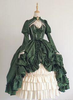 Elegant Luxury Lolita OP Dress Green - - Straight Hairstyles for You 2019 Straight Hairstyles ideas for Women and Men Best Trend Straight Hairstyles Ideas for you. Old Fashion Dresses, Old Dresses, Pretty Dresses, Vintage Dresses, Beautiful Dresses, Victorian Ball Gowns, Fantasy Dress, Kawaii Clothes, Cosplay Outfits