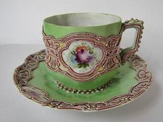 Old Nippon Momoi Moriage Cup and Saucer c1900