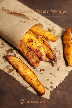 Oven Roasted Potato Wedges | Baked Potato Wedges ~ Sankeerthanam (Reciperoll.com)|Recipes | Cake Decorations | Cup Cakes |Food Photos