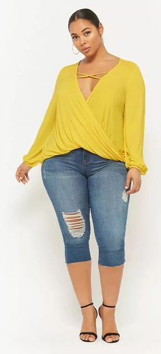Plus Size Plunging Cowl Neck Top