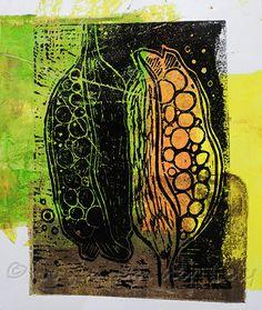 Seed Pods print form lino cut by Joyce van der Lely