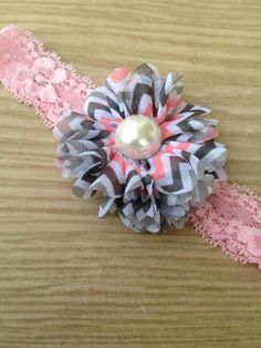 Pink Grey and White Chevron Flower Headband by SalinasAccessories, $7.00
