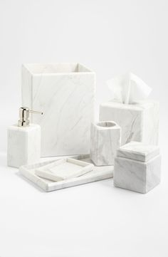 Studio 'Luna' White Marble Covered Jar (Online Only)