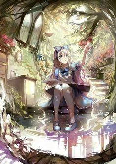 Alice in wonderland anime style Kawaii Anime Girl, Anime Art Girl, Manga Art, Anime Girls, Anime Chibi, Manga Anime, Anime Angel, Beautiful Anime Girl, I Love Anime