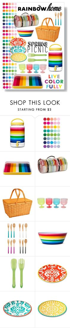 """rainbow picnic"" by rehannah-o ❤ liked on Polyvore featuring interior, interiors, interior design, home, home decor, interior decorating, Tweedmill, Picnic at Ascot, M&Co and Core Home"