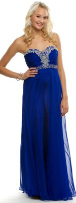 Royal Blue Strapless Chiffon Gown With Rhinestones