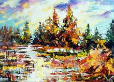 """""""Sunny moment after the rain"""" - Original Fine Art for Sale - © Mikko Tyllinen Acrylic Colors, Fine Art Gallery, Art For Sale, Vintage Photos, In This Moment, Acrylic Paintings, Projects, Rain, Log Projects"""