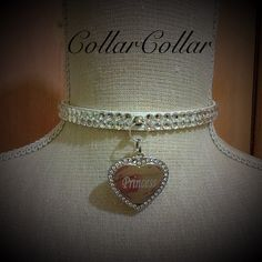 Luxury Vegan Leather Swarovski Encrusted Kitten Pet Play Collar With Engraved Personalised Heart Tag by CollarCollar on Etsy
