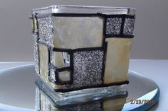 Hand Painted, Faux Stained Glass Square 2 high x 2 wide, gold & silver glitter votive candle holder. Sure to add beauty to any home decor!