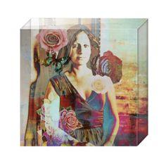 Villa Verona - Acrylic Art Block An exclusive SmithHönig art piece, reverse-printed on acrylic block. Modern Mona Lisa in an Italian Villa, embellished with roses and butterflies
