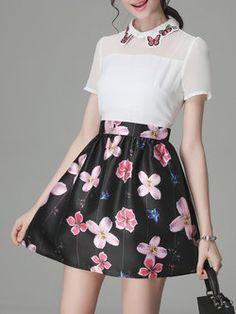 Short Sleeve Floral-print Sweet Mini Dress