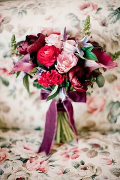 velvet wrapped bouquet