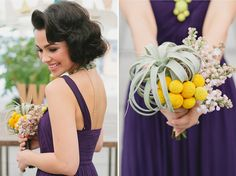 purple bridesmaids dress with yellow bouquet