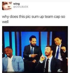 because Cap is speechifying, Bucky is so done, Scott is fanboying, and Sam just thinks everything is so funny.: