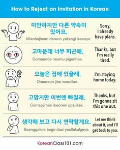 How to reject an invitation in Korean 🙅 Our PDF lessons are a great way to help you master survival Korean. Korean Words Learning, Korean Language Learning, Learning Spanish, Learning Arabic, Korean Slang, Korean Phrases, Swedish Language, Japanese Language, Italian Language